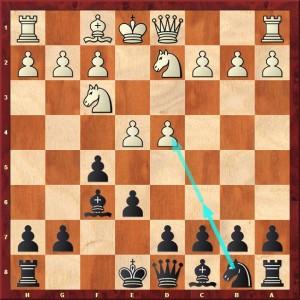 1.d4 f5 2.Cf3 Cf6 3.Fg5 e6 4.Cbd2 Fe7 5.Fxf6 Fxf6 6.e4